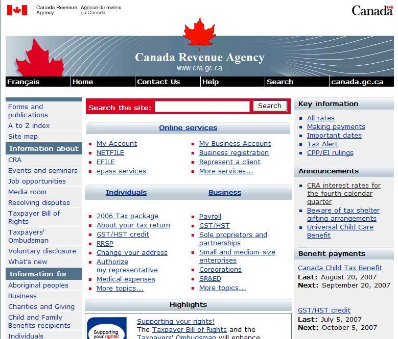 Сайт Канадской налоговой:)