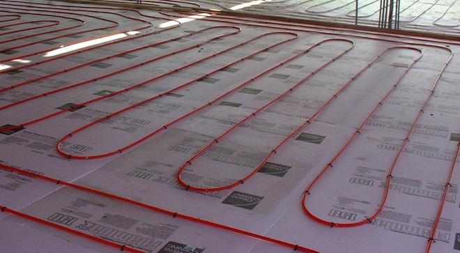 water heating floor
