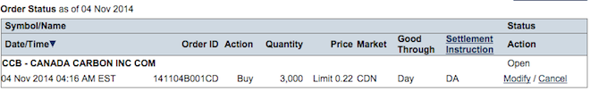 Here you can see how I've placed a bid' to buy 3000 shares of 'CANADA CARBON INC'. I've put it at a 'limit price', I'm going to buy it for no more than 22 cents a share. Transaction will proceed IF, a) there's a seller who's agree to sell CCB at this price (or at the lesser price).