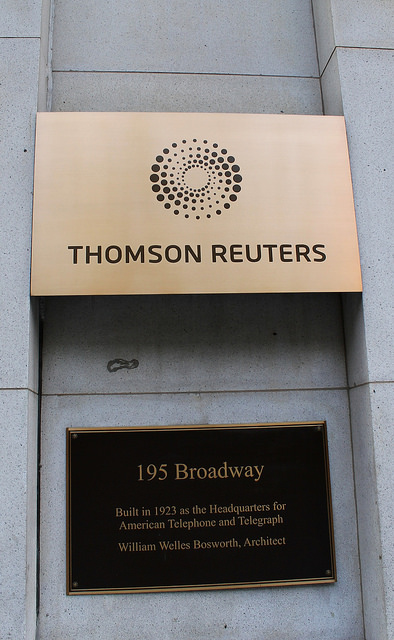 'Thomson Reuters', одно из мировых ведущих информационных агентств, снабжающих информацией инвесторов по всему миру